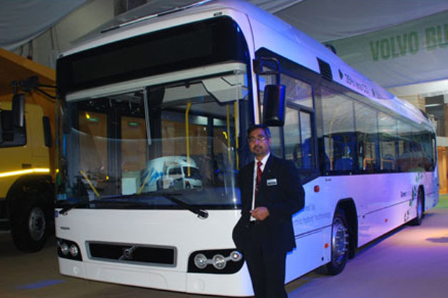 Volvo displays its Hybrid Bus the 7700 at the 2012 Delhi Auto Expo