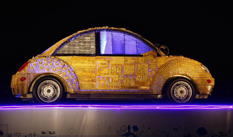 Life Size scrap model of Volkswagen Beetle on display at the Kala Ghoda Festival