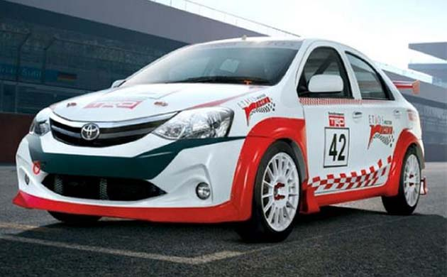 Race cars of Toyota Etios showcased in Chennai for the first time
