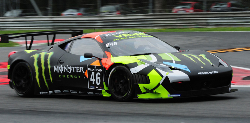 Rossi races the Ferrari 458 GT3 at Monza