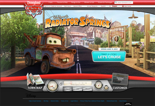 Disney Cars Land microsite and commercial launched