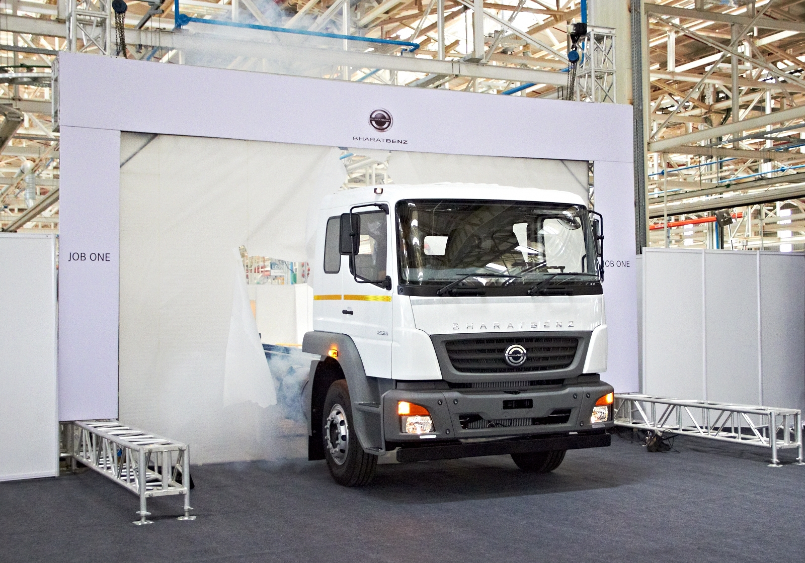 BharatBenz truck production begins First vehicle rolls out of the assembly line