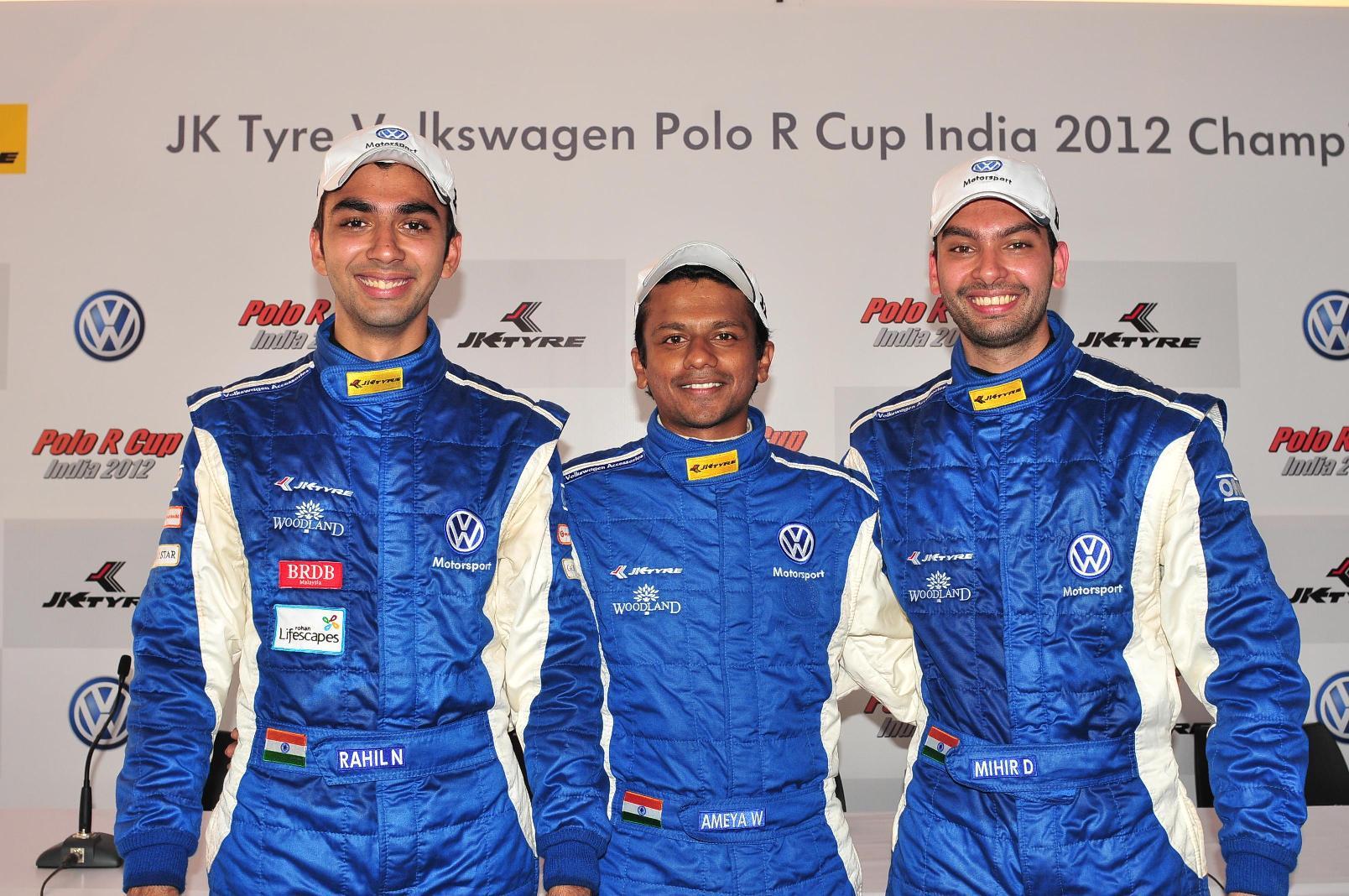 3 Winners Race 1 -L to R- Rahil Noorani Ameya Walavalkar Mihir Dharkar