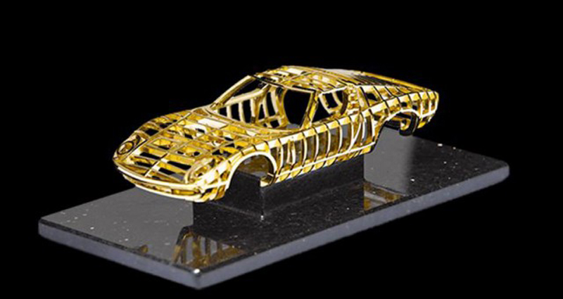 Swiss artist Dante creates 24 carat gold sculpture of Lamborghini Miura