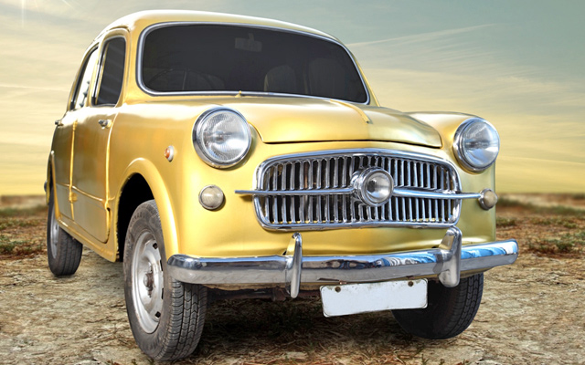 Gold Leafing Studio turns Vintage Fiat car into a golden beauty