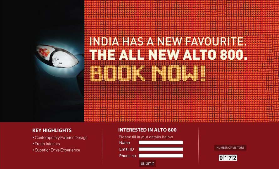 Maruti Alto 800 Bookings starts, Teaser website is online