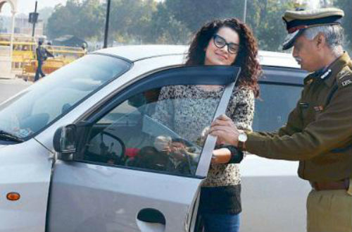 Kangna Ranaut in campaign against dark films on vehicle windows