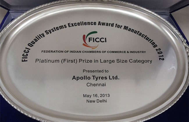 Apollo Tyres' Chennai Facility Honored With FICCI Quality Systems Excellence Awards