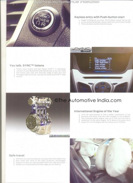 Ford EcoSport's official brochure leaks