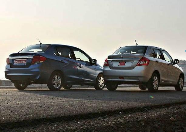 Honda Amaze vs Maruti Dzire Back View