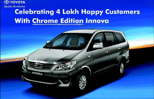 Toyota Celebrates 4 Lakh Innova Sales With Chrome Edition