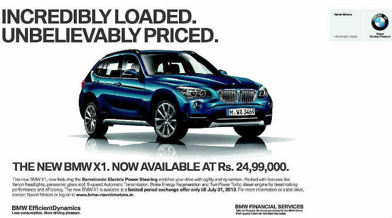 BMW India offering X1 crossover at Rs.24.99 lakh