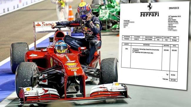 Ferrari sends Webber invoice for Singapore taxi ride