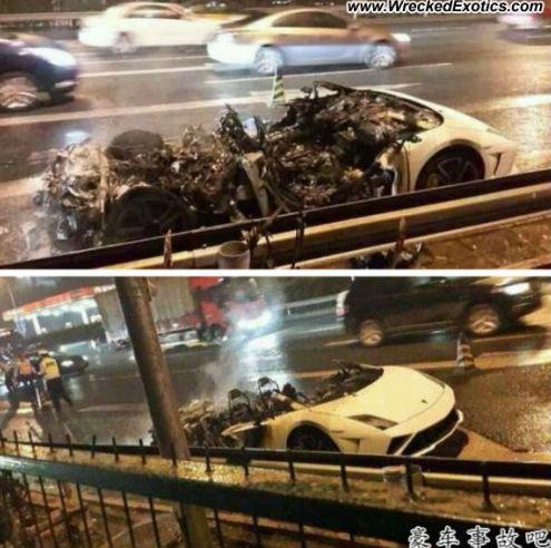 Lamborghini Gallardo burns like a crisp in China
