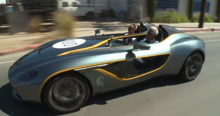 Jay Leno driving the Aston Martin CC100