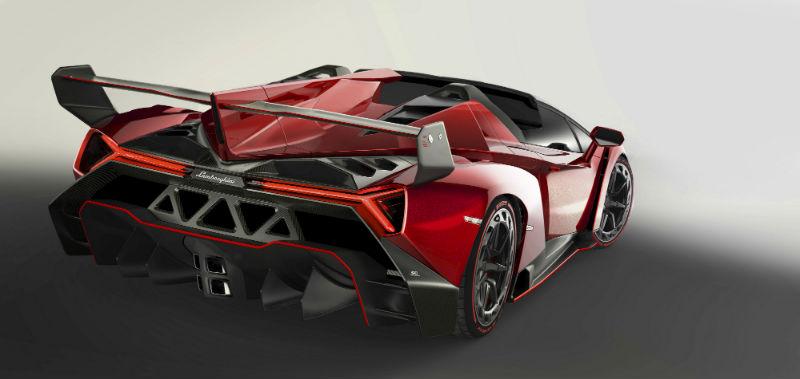 Lamborghini unveils Veneno Roadster Back View