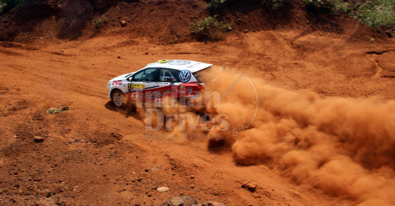 Sirish Chandran in his Volkswagen Polo Rally car