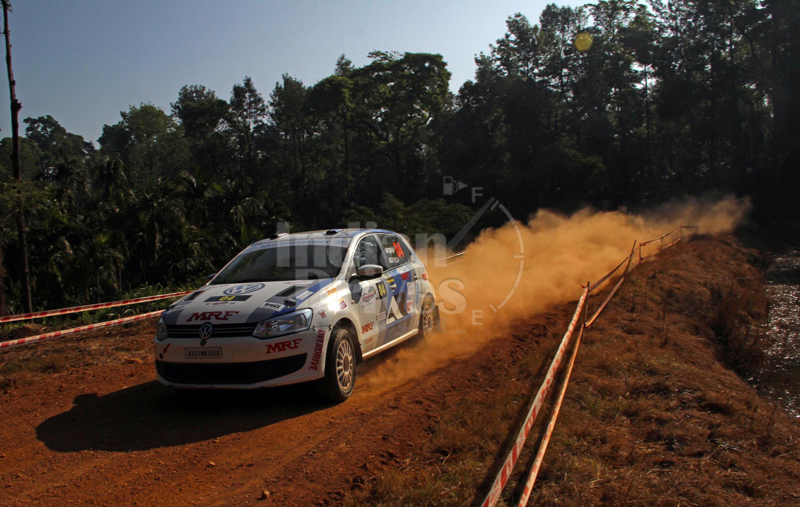 Arjun Rao Arur in his Volkswagen Polo Rally Car