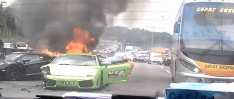 Three Lamborghinis burnt to ashes in Malaysia