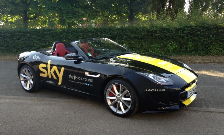 Tour de France winner Chris Froome is presented with unique Jaguar F-TYPE