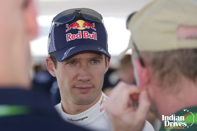 World champion Sebastien Ogier at the Fafe Rally Sprint in Portugal