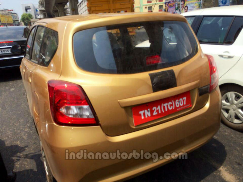 Datsun Go+ MPV spied in India rear quarter