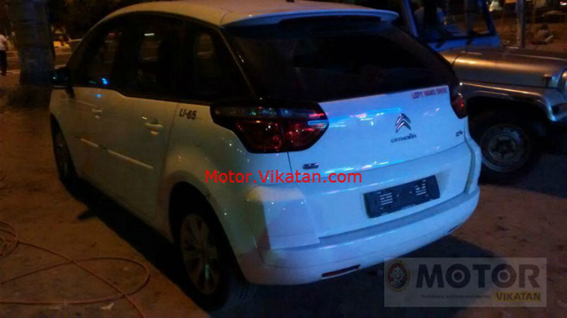 Citroen C4 Picasso Spied in Chennai Back View