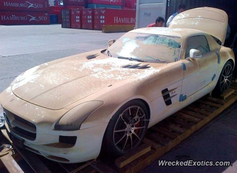 Brand New Mercedes SLS AMG Fell Off The Boat While Being Shipped