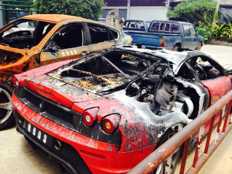 Multiple Exotic Cars Including Lamborghini Ferrari and Bentley Destroyed By Fire In Thailand