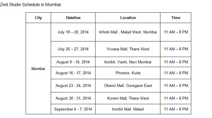 Zest Studio Schedule
