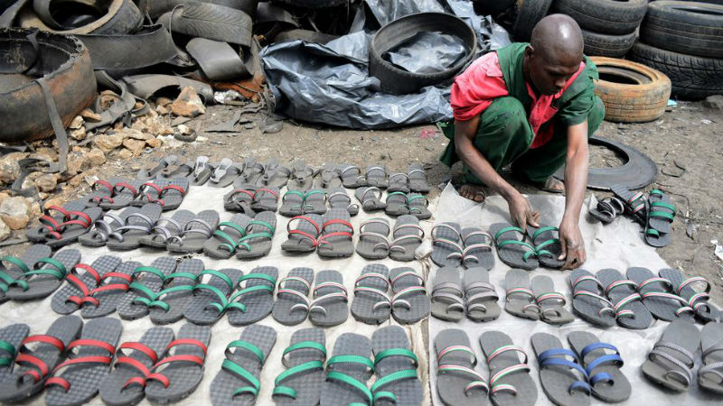 Flip-Flops Made Out Of Used Tyres In Kenya