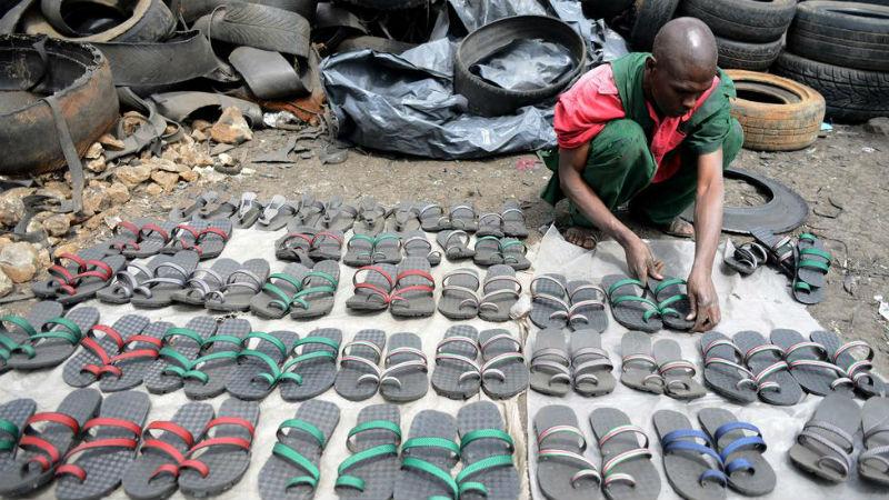 Flip-Flops Made Out Of Used Tyres In Kenya