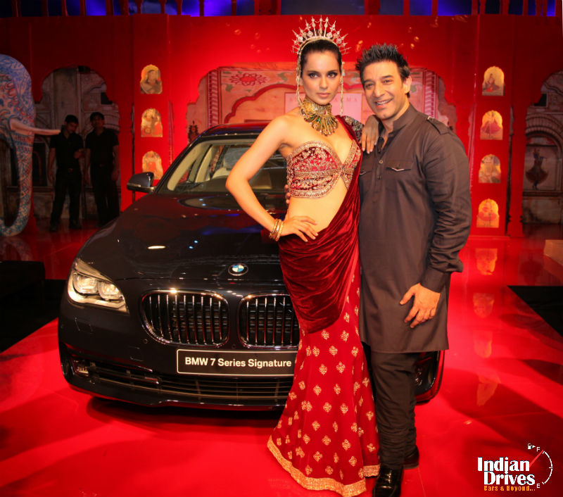Kangana Ranaut and Suneet Varma with the new BMW 7 Series Signature launched at the BMW India Bridal Fashion Week 2014