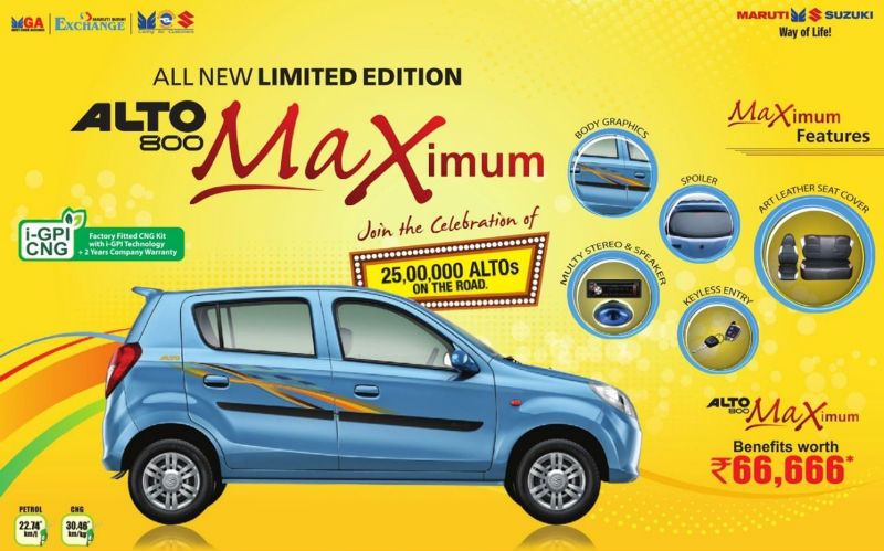 Maruti Alto 800 Maximum Limited Edition Offers Benefits Worth Rs 66,666