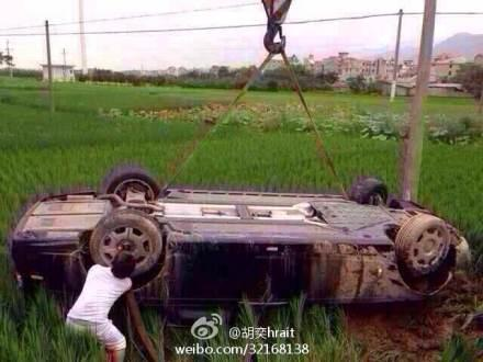 Rolls-Royce Phantom Tumbles Over A Farm In China