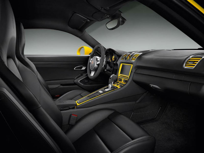 Cayman S in Yellow by Porsche interiors