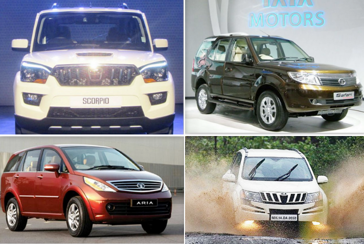 Mahindra Scorpio vs Tata Safari Storme vs Tata Aria vs XUV 500: Specifications Comparison