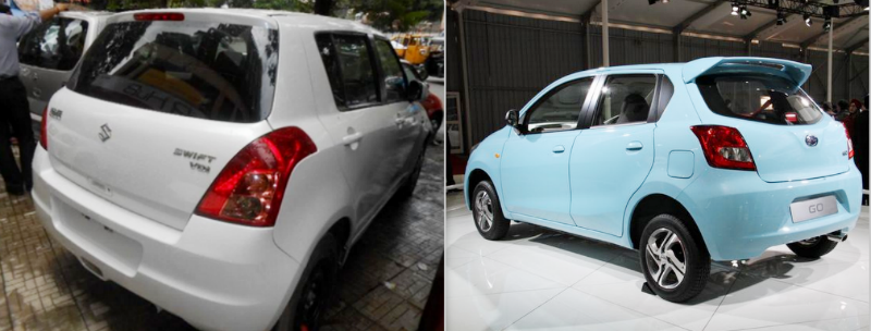 Used Maruti Swift vs New Datsun GO Back View