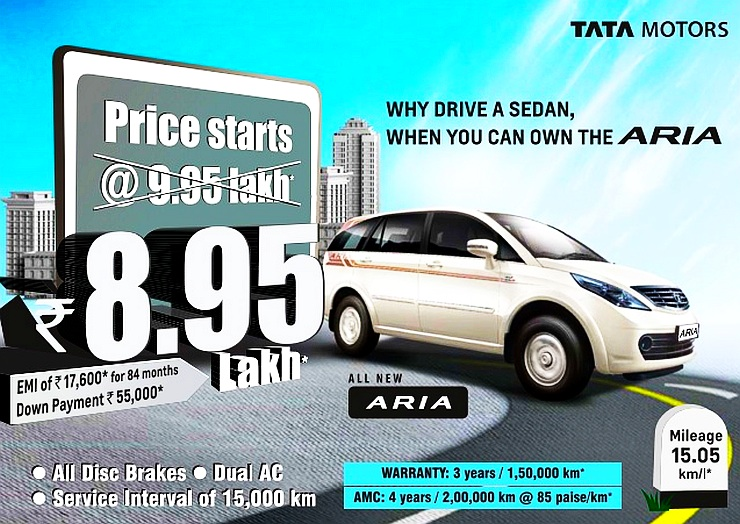 Tata Aria Now Costs Rs 8.95 Lakh: Heavy Discount Of Rs 1 Lakh