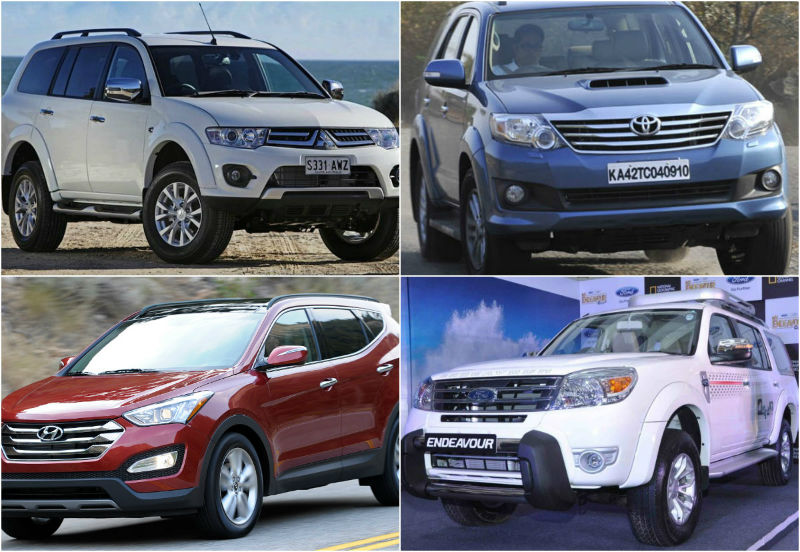 Mitsubishi Pajero Automatic vs Toyota Fortuner vs Ford Endeavour vs New Santa Fe: Spec Comparison
