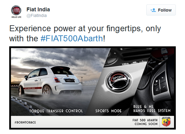 Fiat 500 Abarth Teased on Twitter, Will be Launched Soon