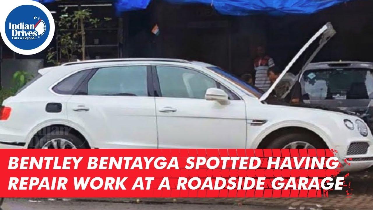 Bentley Bentayga Spotted Having Repair Work At A Roadside Garage